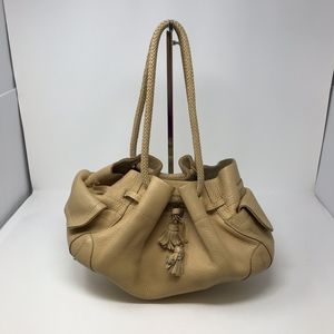 Cole Haan Woven Handle Ruched Leather Purse Bag